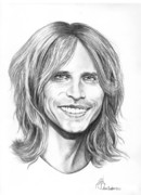 Famous People Drawings - Stephen Tyler by Murphy Elliott