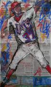 Baseball Pastels Posters - Stephen Who Poster by Mary Gallagher-Stout