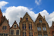 Gables Posters - Stepped gables of the brick houses in Jan Van Eyck Square Poster by Louise Heusinkveld
