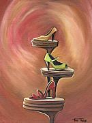 Shoes Painting Framed Prints - Steppin Out Framed Print by Toni  Thorne