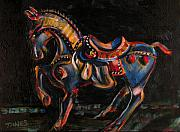 Carousel Painting Originals - Stepping Off the Carousel by Dennis Tawes