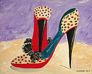 Stillettos Paintings - Stepping Out by Maureen Bieniarz-Pond
