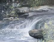 Rushing Water Paintings - Stepping Stones by Penny Neimiller