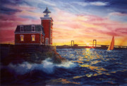 Lighthouse Sunset Posters - Steppingstones Light Poster by Marguerite Chadwick-Juner