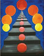 Steps Painting Originals - Steps and Circles by Nancy Wood