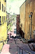Urban Buildings Mixed Media Framed Prints - Steps at 187 Street Framed Print by Sarah Loft