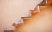 Uttar Pradesh Prints - Steps on an Exterior Wall Print by Bryan Mullennix