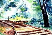Water Color Painting Originals - Steps to eternity by Anil Nene