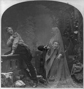 Ghost Hand Prints - Stereograph Shows A Ghost Scaring Man Print by Everett