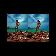 Michelle Prints - Stereoscopic Driftwood Beach Bikini Girl Audrey Michelle 007 Print by Rolf Bertram
