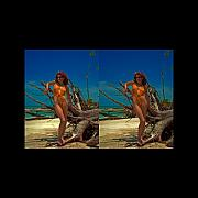 Audrey Photo Posters - Stereoscopic Driftwood Beach Bikini Girl Audrey Michelle 024 Poster by Rolf Bertram