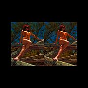 Audrey Photo Posters - Stereoscopic Driftwood Beach Bikini Girl Audrey Michelle 025 Poster by Rolf Bertram