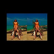 Audrey Photo Posters - Stereoscopic Driftwood Beach Bikini Girl Audrey Michelle 026 Poster by Rolf Bertram