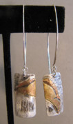 Distressed Jewelry - Sterling Silver Brass Fused Earrings by Brenda Berdnik