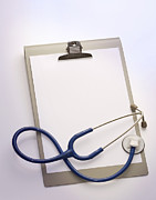 Blank And White Framed Prints - Stethoscope On Clipboard, With Copy Space Framed Print by Simon Battensby