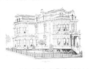 1876 Drawings Prints - Stetson Mansion Print by Edward Williams