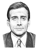 Graphite Portrait Drawings - Steve Carell by Murphy Elliott
