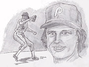 Baseball. Philadelphia Phillies Drawings - Steve Carlton- Lefty by Chris  DelVecchio