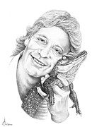 Reptiles Drawings Prints - Steve Irwin Crocodile Hunter Print by Murphy Elliott