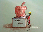 Caricature Drawings - Steve Jobs by Samedin Latifi