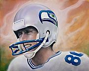Helmet Mixed Media Framed Prints - Steve Largent Framed Print by Joshua South