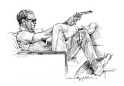Celebrity Portrait Drawings - Steve McQueen Colt 45 by David Lloyd Glover