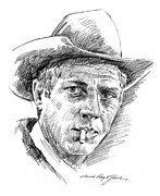 Celebrities Drawings Posters - Steve McQueen Poster by David Lloyd Glover
