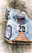 Watercolor  Painting Framed Prints - Steve McQueens Porsche 917K Le Mans Framed Print by Yuriy  Shevchuk