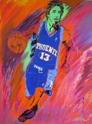 Sports Legends Paintings - Steve Nash-Vision of Scoring by Bill Manson