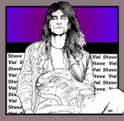 Guitarist Mixed Media - Steve Vai Sitting by Curtiss Shaffer