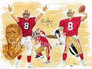 Running Back Painting Framed Prints - Steve Young - Hall of Fame Framed Print by George  Brooks
