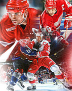 Puck Digital Art Posters - Steve Yzerman Collage Poster by Mike Oulton