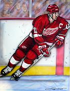 Hockey Drawings Prints - Steve Yzerman Print by Dave Olsen
