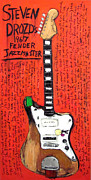 Alternative Music Paintings - Steven Drozd Jazzmaster by Karl Haglund