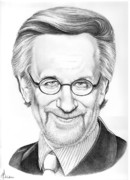 Graphite Portrait Drawings - Steven Spielberg by Murphy Elliott