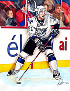 Nhl Hockey Drawings Prints - Steven Stamkos Print by Dave Olsen