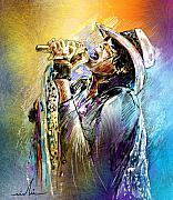 Aerosmith Metal Prints - Steven Tyler 01  Aerosmith Metal Print by Miki De Goodaboom