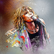 Singers Drawings Prints - Steven Tyler 02  Aerosmith Print by Miki De Goodaboom