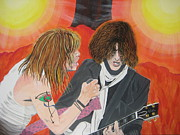 Aerosmith Paintings - Steven Tyler And Joe Perry Painting by Jeepee Aero