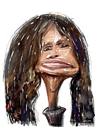 Caricature Mixed Media Prints - Steven Tyler Print by Russell Pierce