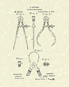 Antique Drawing Posters - Stevens Calipers and Dividers 1886 Patent Art Poster by Prior Art Design