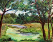 Finger Painting Prints - Stevenson Rd. Pond Print by Ethel Vrana
