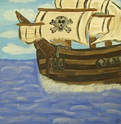 Pirate Ship Paintings - Steves Spooky Ship by Eva  Dunham
