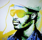 Musician Greeting Cards Paintings - Stevie is Wonder-ful by Carl Haynes