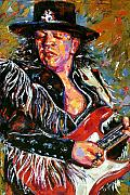 Jazz Painting Prints - Stevie Ray Red Guitar Print by Debra Hurd