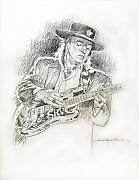 Pencil Drawing Framed Prints - Stevie Ray Vaughan - Texas Twister Framed Print by David Lloyd Glover