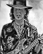 Fender Strat Posters - Stevie Ray Vaughan 1 Poster by Peter Chilelli