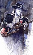 Guitarist Framed Prints - Stevie Ray Vaughan 1 Framed Print by Yuriy  Shevchuk