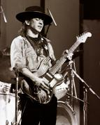 Music Metal Prints - Stevie Ray Vaughan 1984 - Sepia Metal Print by Chris Walter