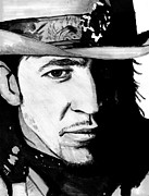Lead Singer Drawings - Stevie ray Vaughan by Chris Fader